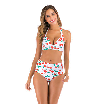 Sexy Printed High Waist Split Bikini