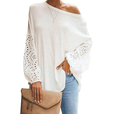 Round Hollow Stitching All-match Loose Top