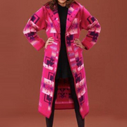 Autumn And Winter New Printed Mid-length Coat