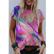 Color Printed Round Neck Short-sleeved T-shirt