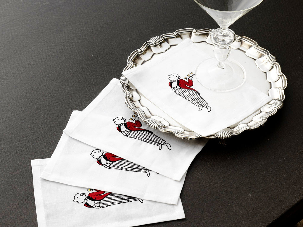 Embroidered Linen Waiter Cocktail Napkin Set of Four