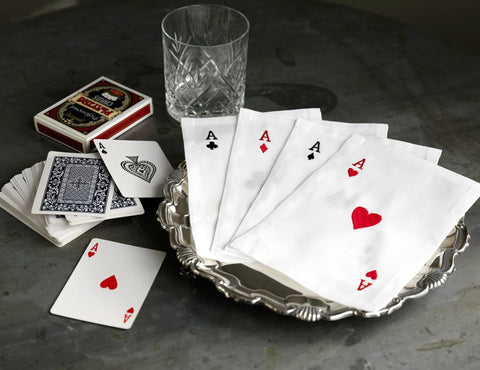 Embroidered Linen Playing Card Cocktail Napkin Set of Four