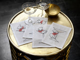 Embroidered Linen Tipsy Pig Cocktail Napkin Set of Four