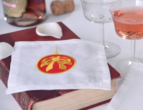 Festive Embroidered Linen Cocktail Napkin