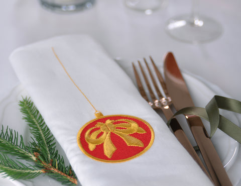 Festive Embroidered Linen Napkin