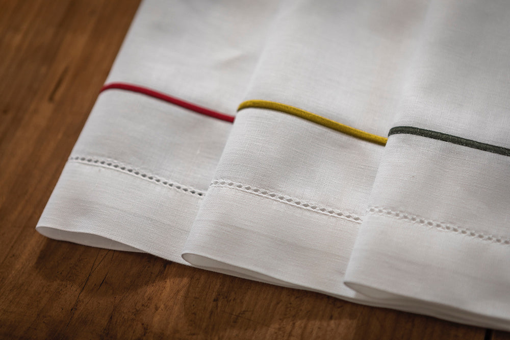 Hemstitch Linen Napkin with Classic Corded Border. Large 50 cm Square.