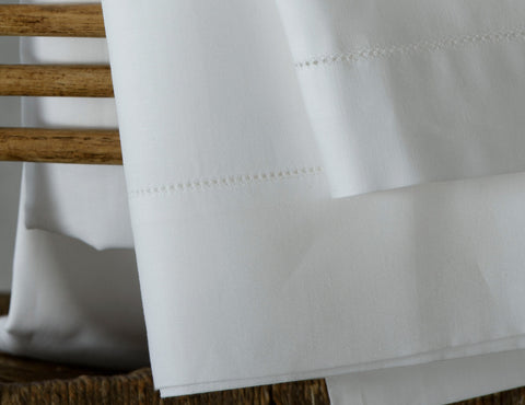 Hemstitch Linen Union Flat Sheet