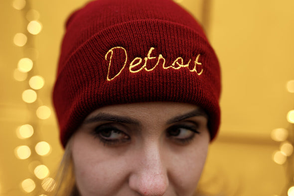 Detroit Embroidered Beanie