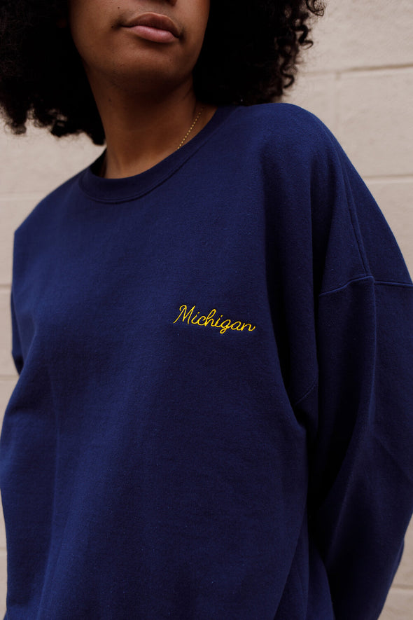 Michigan Embroidered Crew
