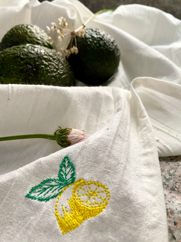 Lemon Embroidered Tea Towel