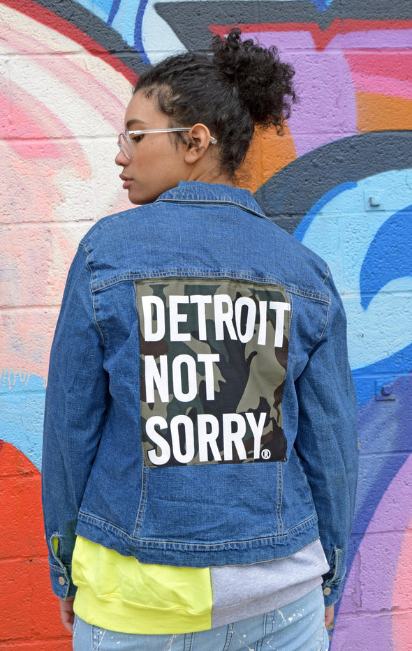 Upcycled Denim Jacket with Detroit Patch