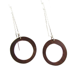exotic rose wood circle earrings