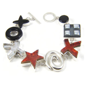 custom bracelet, water jet, cast sterling, fused glass, glass jewelry, glass and silver jewelry, handmade, handcrafted