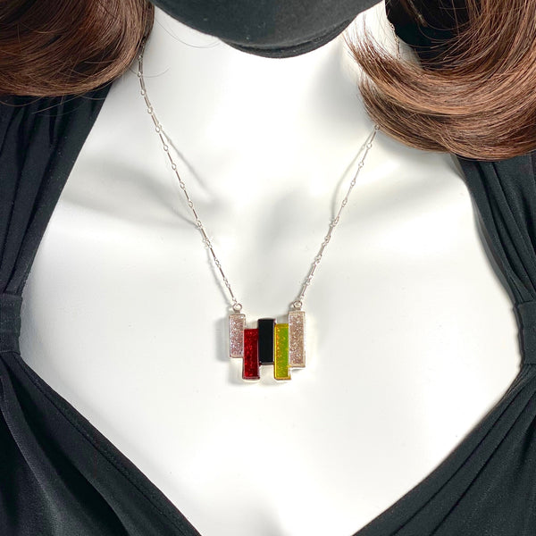 5 bar necklace, rectangles in pearl white, cherry red, black and lemon yellow, fused glass, glass jewelry, glass and silver jewelry, handmade, handcrafted, American Craft, hand fabricated jewelry, hand fabricated jewellery, Athen, Georgia, colorful jewelry, sparkle, bullseye glass, dichroic glass, art jewelry