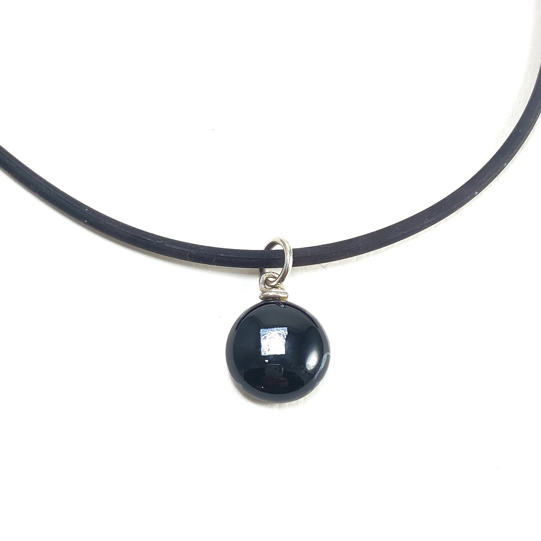 black glass ball necklace, fused glass, glass jewelry, glass and silver jewelry, handmade, handcrafted, American Craft, hand fabricated jewelry, hand fabricated jewellery,  Athen, Georgia, colorful jewelry, sparkle, bullseye glass, dichroic glass, art jewelry