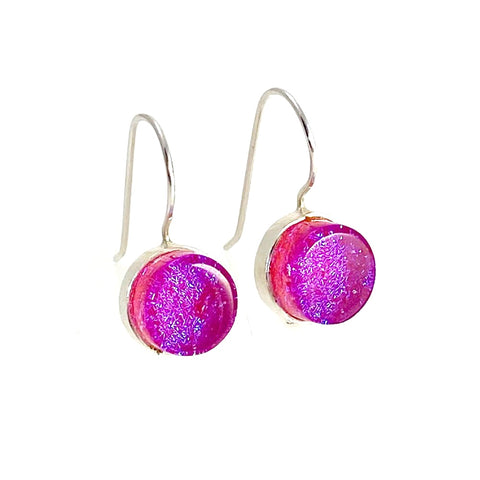 candy pink glass, circle earrings, fused glass, glass jewelry, glass and silver jewelry, handmade, handcrafted, American Craft, hand fabricated, Athen, Georgia, colorful jewelry, sparkle, bullseye glass, dichroic glass, art jewelry