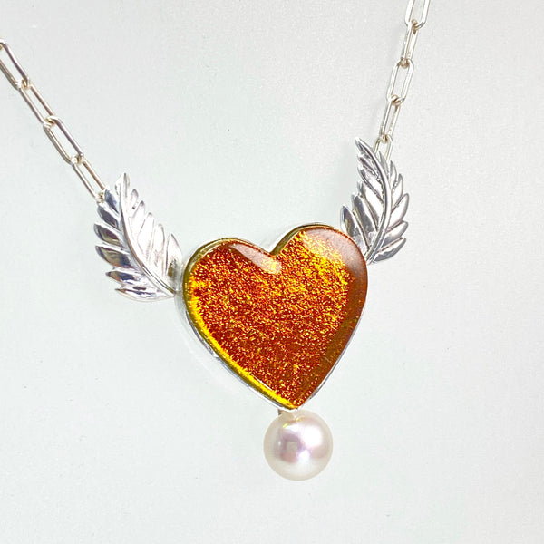 Heart Necklace with Pearl & Silver Wings in Amber