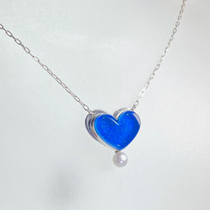 Heart Necklace with Pearl in Turquoise