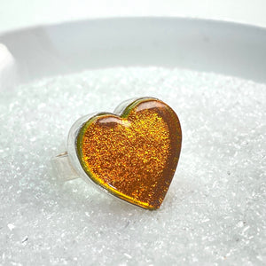 Heart Ring in Amber