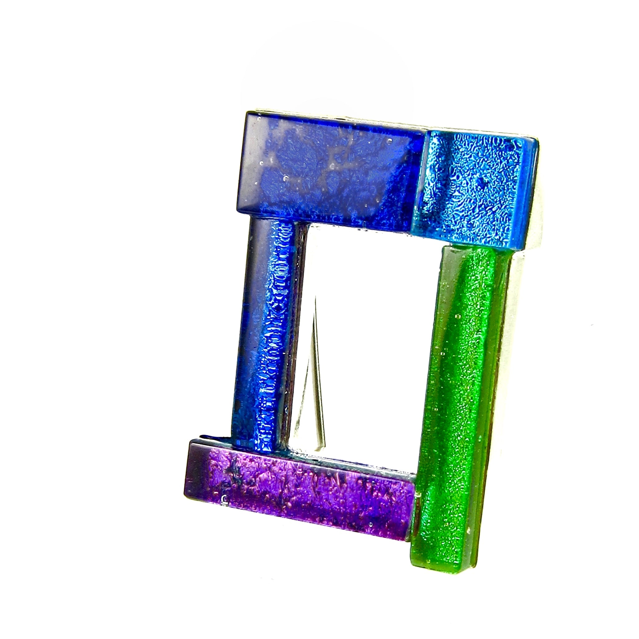 open rectangle brooch, blue, purple, green pin, fused glass, glass jewelry, glass and silver jewelry, handmade, handcrafted, American Craft, hand fabricated jewelry, hand fabricated jewellery,  Athen, Georgia, colorful jewelry, sparkle, bullseye glass, dichroic glass, art jewelry