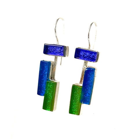 modern art inspired, purple, blue, green earrings, fused glass, glass jewelry, glass and silver jewelry, handmade, handcrafted, American Craft, hand fabricated jewelry, hand fabricated jewellery, Athen, Georgia, colorful jewelry, sparkle, bullseye glass, dichroic glass, art jewelry