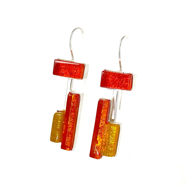 modern art inspired, yellow, orange earrings, fused glass, glass jewelry, glass and silver jewelry, handmade, handcrafted, American Craft, hand fabricated jewelry, hand fabricated jewellery, Athen, Georgia, colorful jewelry, sparkle, bullseye glass, dichroic glass, art jewelry