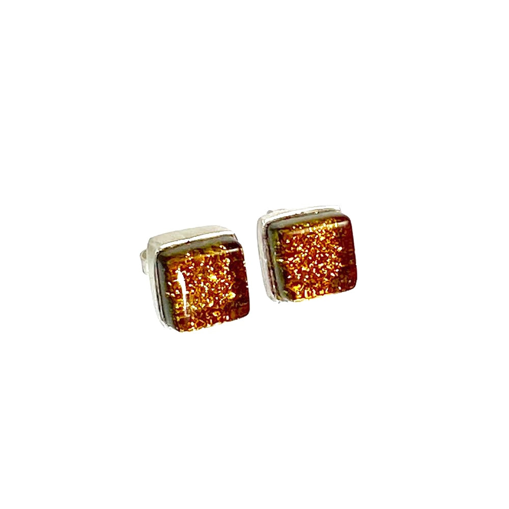 amber, gold, square earrings, fused glass, glass jewelry, glass and silver jewelry, handmade, handcrafted, American Craft, hand fabricated jewelry, hand fabricated jewellery,  Athen, Georgia, colorful jewelry, sparkle, bullseye glass, dichroic glass, art jewelry