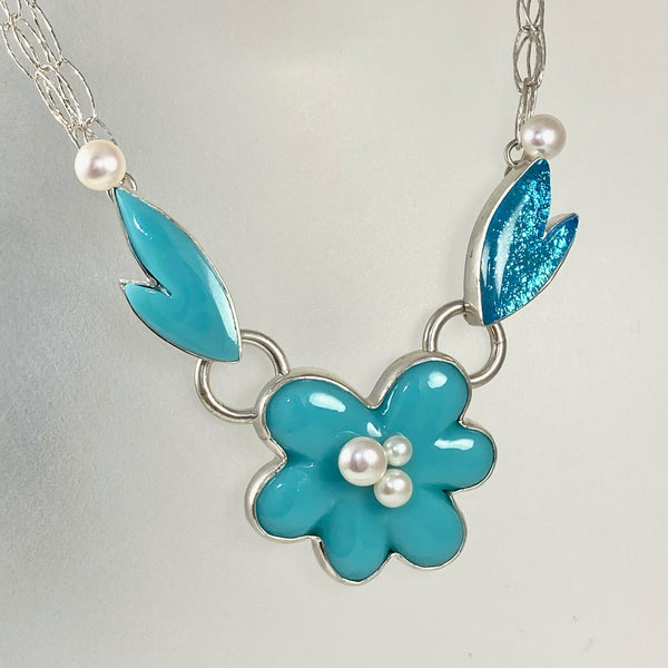 Aqua blue aquamarine pearl flower necklace, fused glass, glass jewelry, glass and silver jewelry, handmade, handcrafted, American Craft, hand fabricated jewelry, hand fabricated jewellery, Athen, Georgia, colorful jewelry, sparkle, bullseye glass, dichroic glass, art jewelry