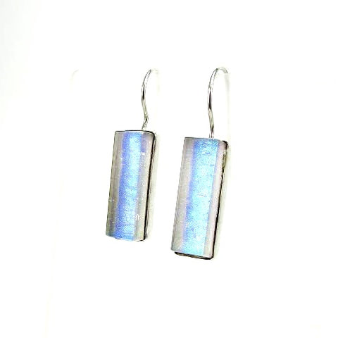 blue, green, earrings, fused glass, glass jewelry, glass and silver jewelry, handmade, handcrafted, American Craft, hand fabricated jewelry, hand fabricated jewellery,  Athen, Georgia, colorful jewelry, sparkle, bullseye glass, dichroic glass