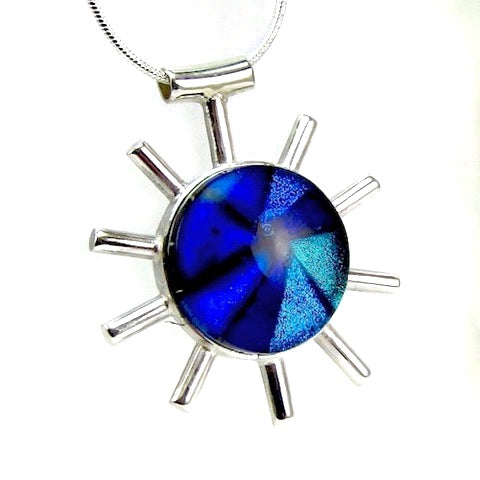 blue  melange, blue, abstract corona pendant necklace, fused glass, glass jewelry, glass and silver jewelry, handmade, handcrafted, American Craft, hand fabricated jewelry, hand fabricated jewellery, Athen, Georgia, colorful jewelry, sparkle, bullseye glass, dichroic glass, art jewelry