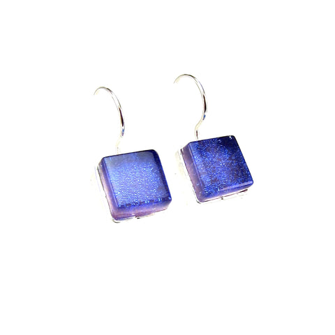 blue, purple, earrings, fused glass, glass jewelry, glass and silver jewelry, handmade, handcrafted, American Craft, hand fabricated jewelry, hand fabricated jewellery,  Athen, Georgia, colorful jewelry, sparkle, bullseye glass, dichroic glass