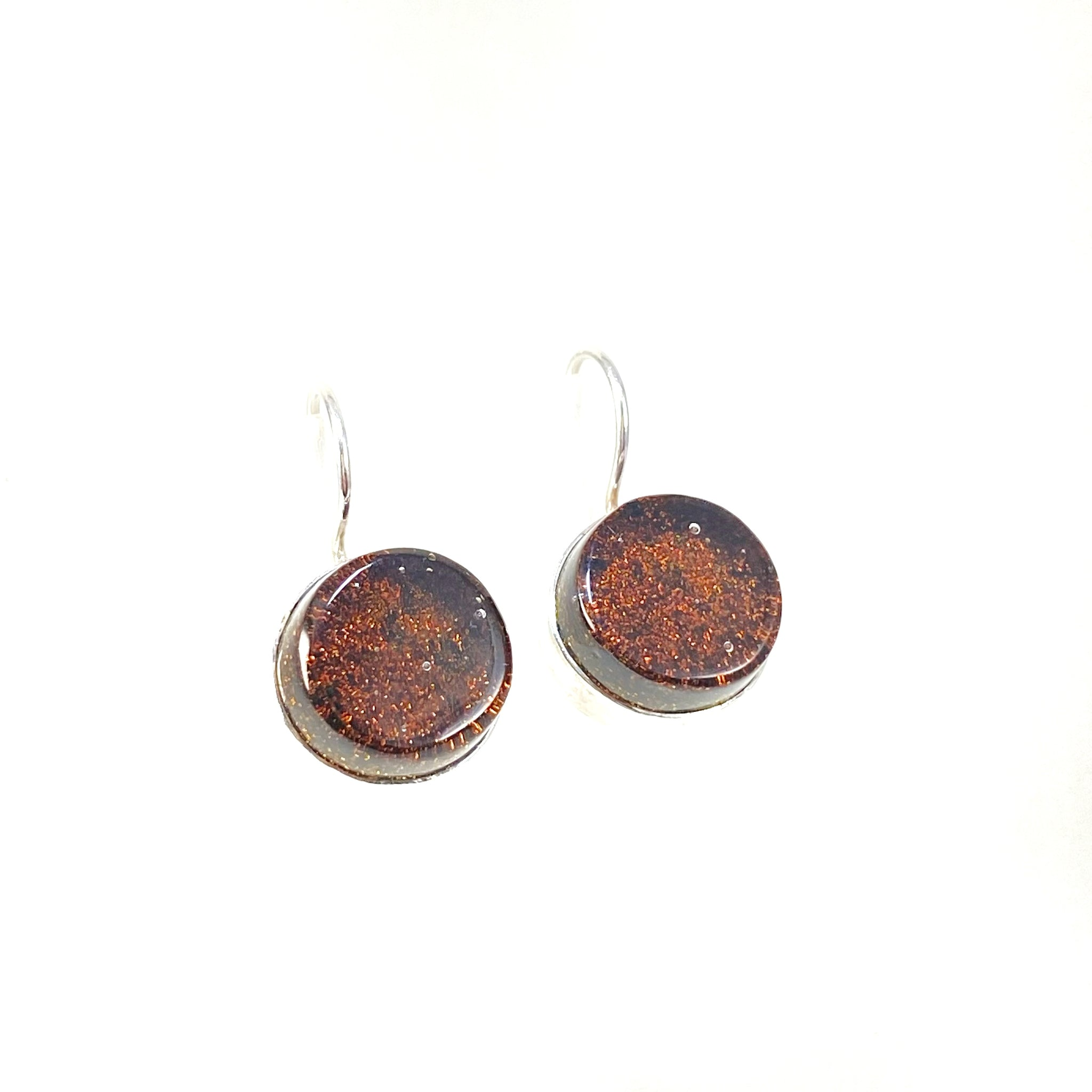 chocolate, brown, glass earrings, fused glass, glass jewelry, glass and silver jewelry, handmade, handcrafted, American Craft, hand fabricated jewelry, hand fabricated jewellery, Athen, Georgia, colorful jewelry, sparkle, bullseye glass, dichroic glass