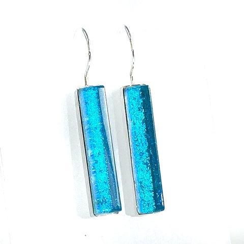 caribbean, blue, earrings, fused glass, glass jewelry, glass and silver jewelry, handmade, handcrafted, American Craft, hand fabricated jewelry, hand fabricated jewellery,  Athen, Georgia, colorful jewelry, sparkle, bullseye glass, dichroic glass