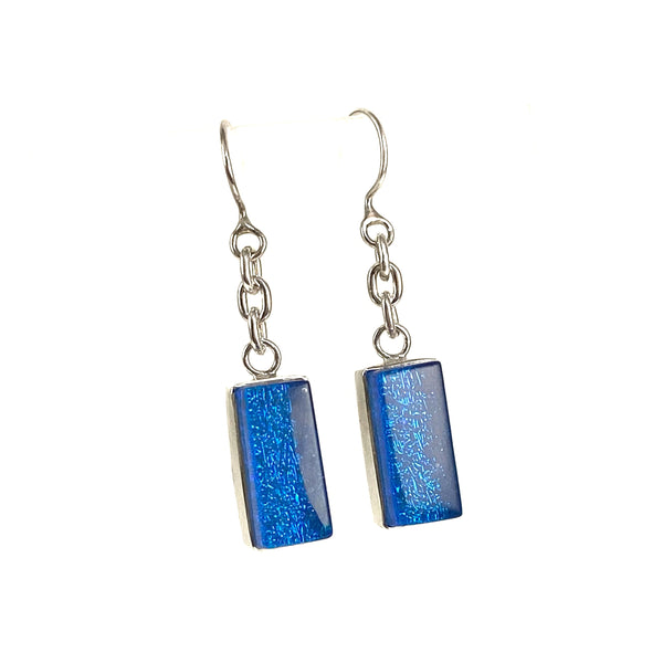 azure, blue, chain earrings, fused glass, glass jewelry, glass and silver jewelry, handmade, handcrafted, American Craft, hand fabricated jewelry, hand fabricated jewellery,  Athen, Georgia, colorful jewelry, sparkle, bullseye glass, dichroic glass, art jewelry