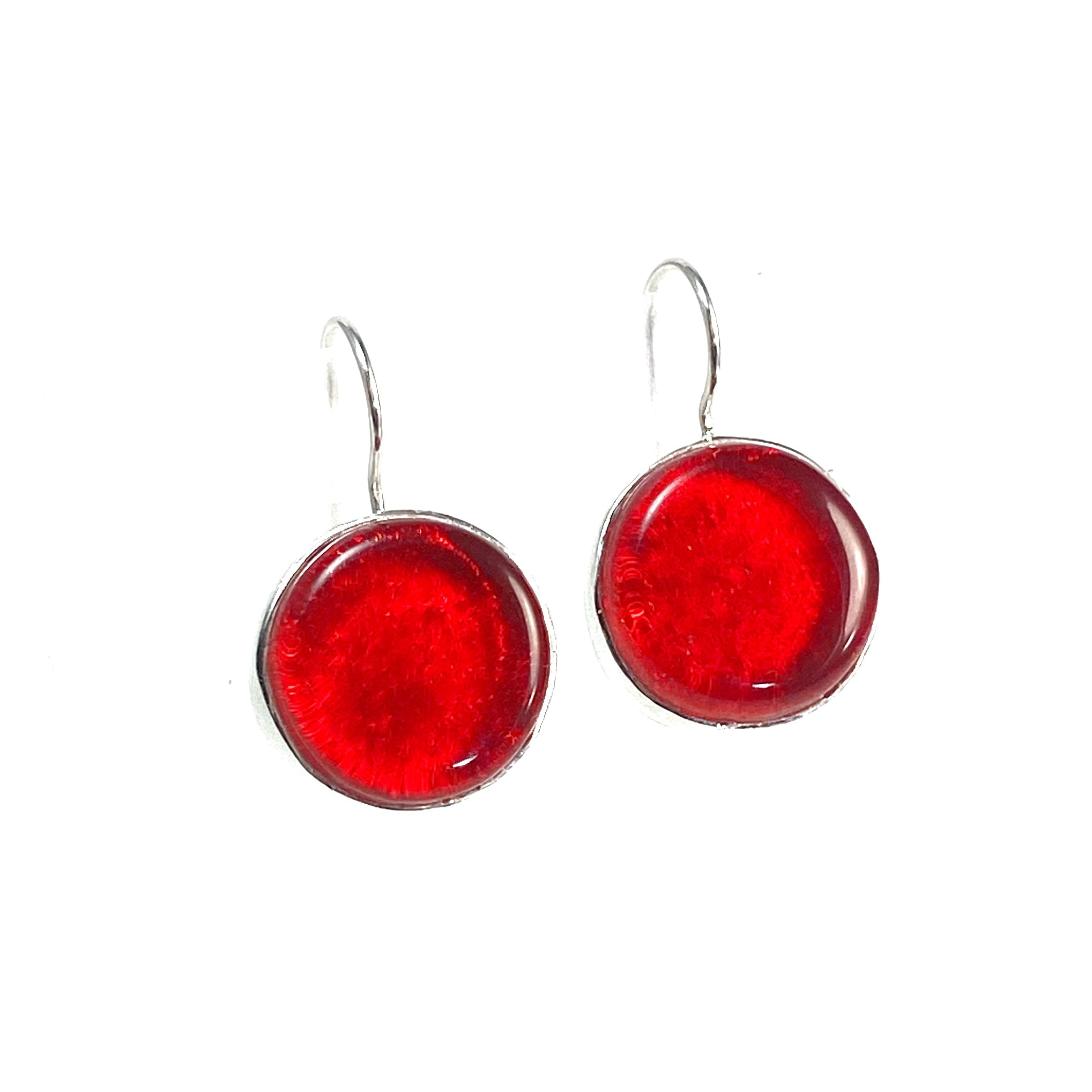 cherry red glass, circle earrings, fused glass, glass jewelry, glass and silver jewelry, handmade, handcrafted, American Craft, hand fabricated, Athen, Georgia, colorful jewelry, sparkle, bullseye glass, dichroic glass