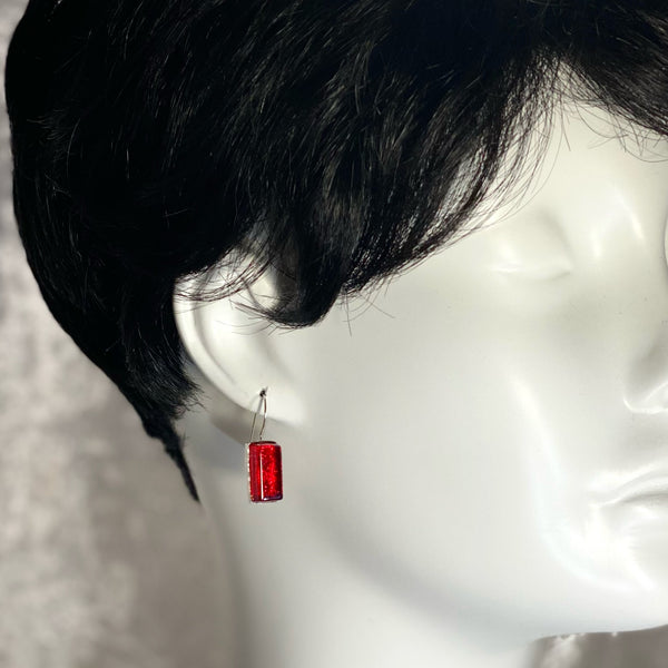 cherry, red, rectangle earrings, fused glass, glass jewelry, glass and silver jewelry, handmade, handcrafted, American Craft, hand fabricated jewelry, hand fabricated jewellery, Athen, Georgia, colorful jewelry, sparkle, bullseye glass, dichroic glass