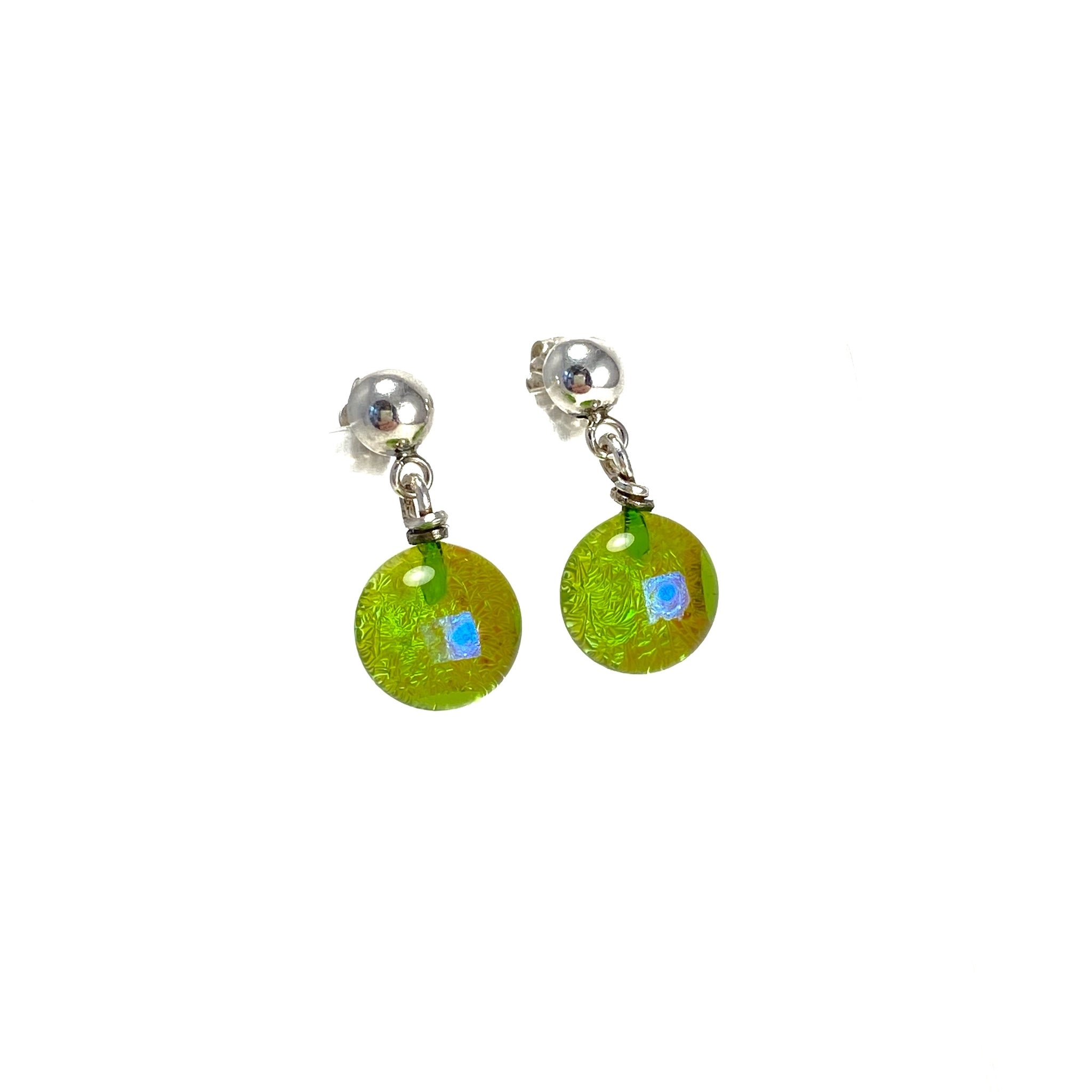 Space Ball Earrings in Citron Green
