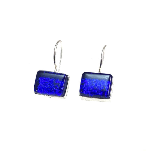 coabalt blue, rectangle earrings, fused glass, glass jewelry, glass and silver jewelry, handmade, handcrafted, American Craft, hand fabricated jewelry, hand fabricated jewellery,  Athen, Georgia, colorful jewelry, sparkle, bullseye glass, dichroic glass, art jewelry