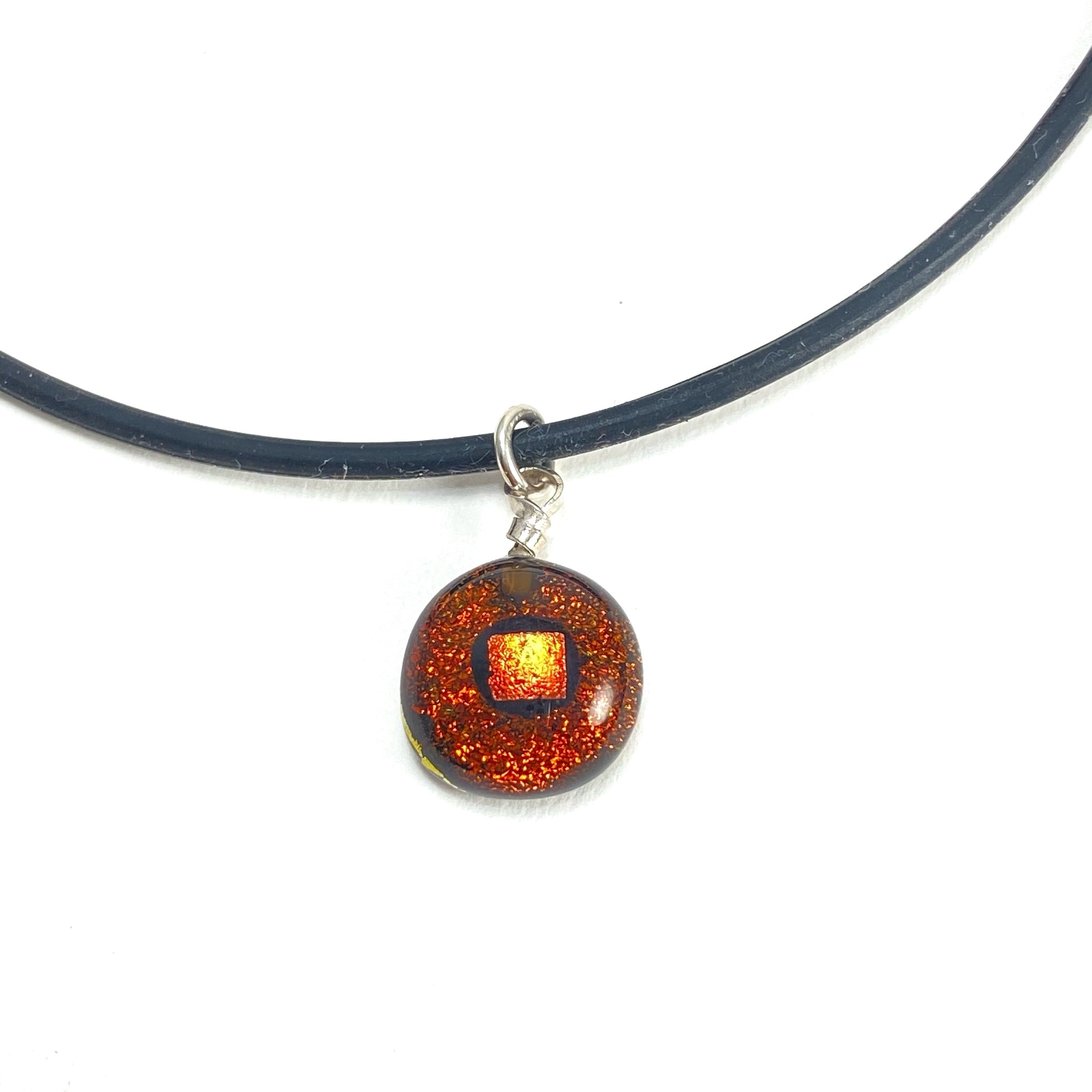 copper gold necklace, fused glass, glass jewelry, glass and silver jewelry, handmade, handcrafted, American Craft, hand fabricated jewelry, hand fabricated jewellery,  Athen, Georgia, colorful jewelry, sparkle, bullseye glass, dichroic glass, art jewelry