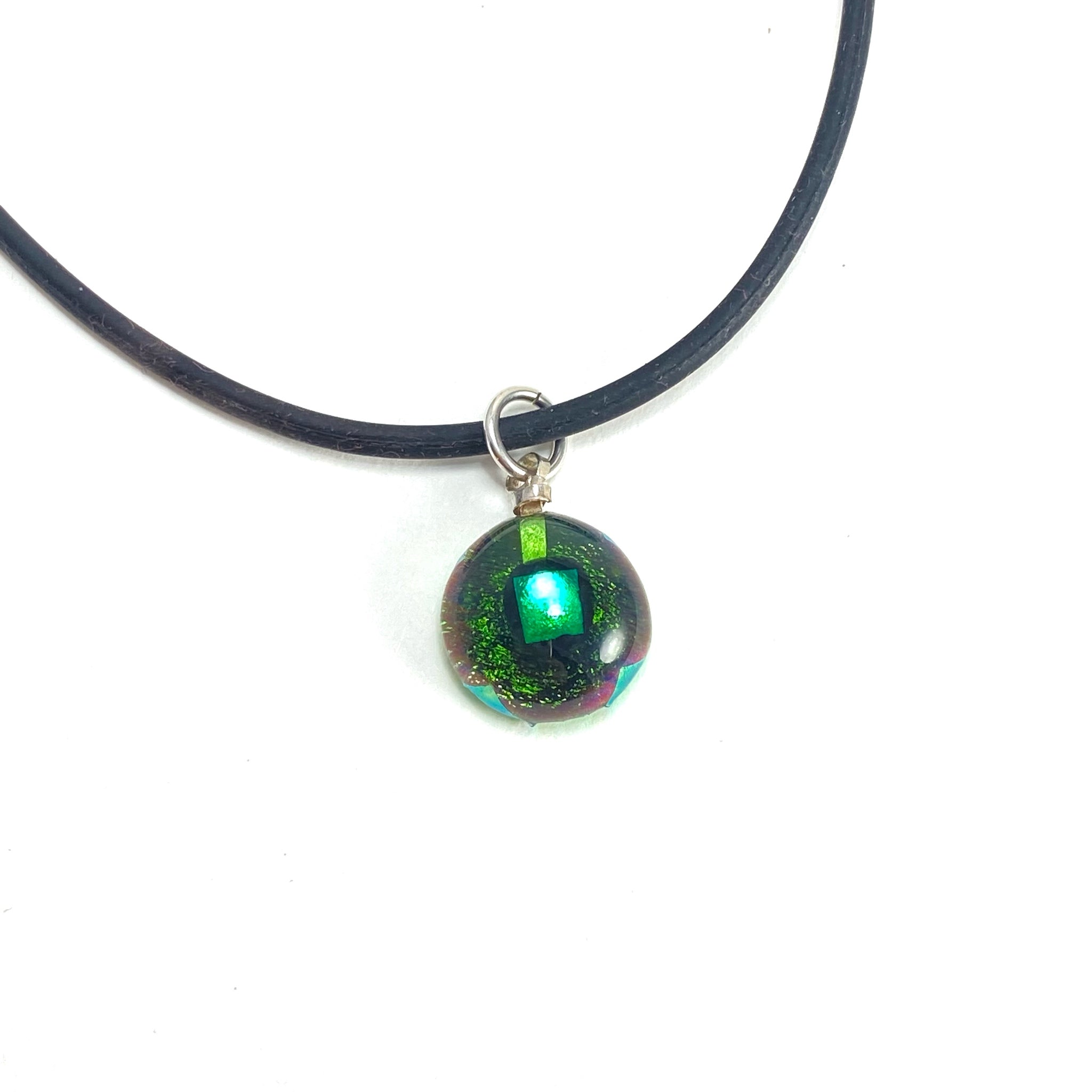 forest green ball necklace, fused glass, glass jewelry, glass and silver jewelry, handmade, handcrafted, American Craft, hand fabricated jewelry, hand fabricated jewellery,  Athen, Georgia, colorful jewelry, sparkle, bullseye glass, dichroic glass, art jewelry