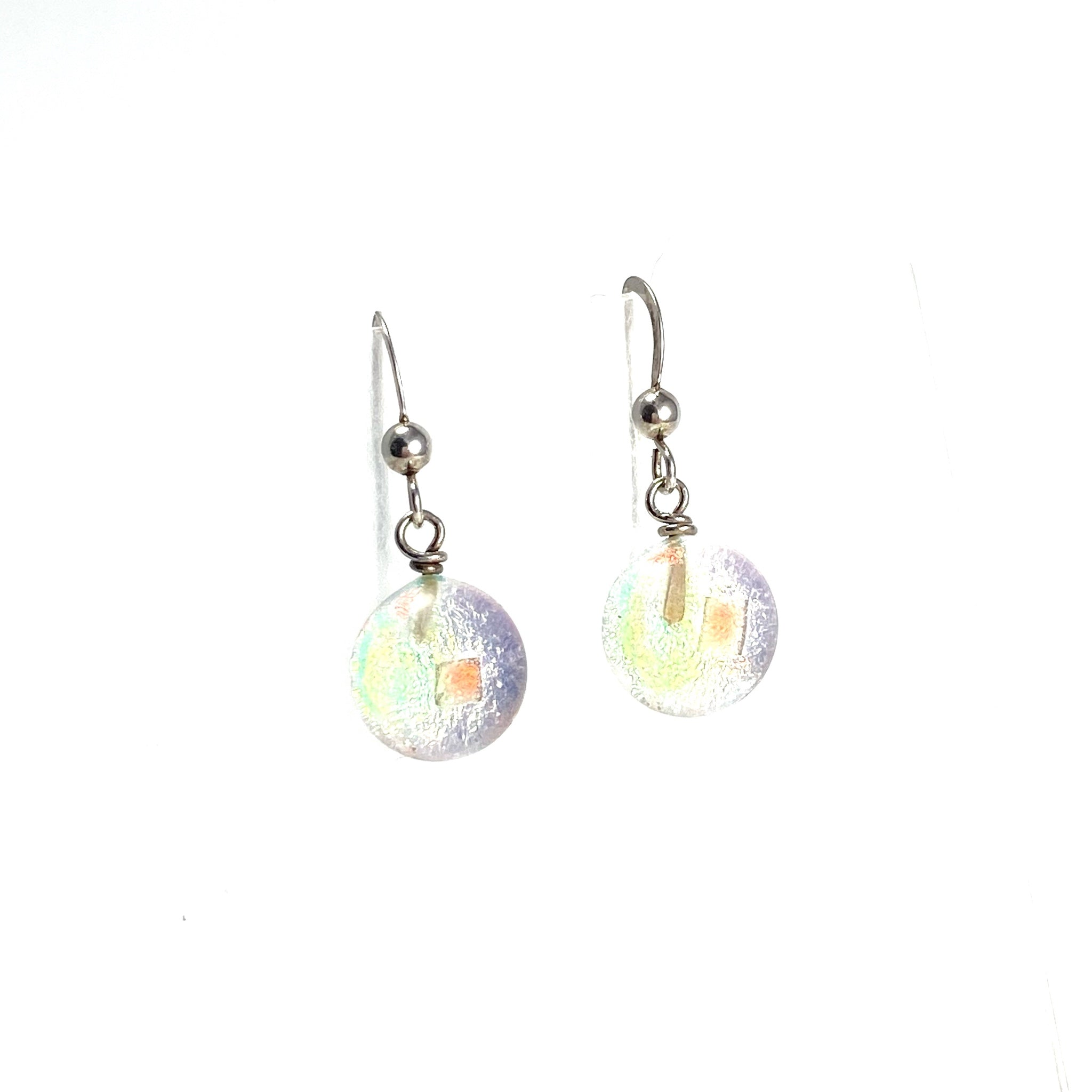 opal, space balls, sparkle, glass drops, earrings, fused glass, glass jewelry, glass and silver jewelry, handmade, handcrafted, American Craft, hand fabricated jewelry, hand fabricated jewellery, Athen, Georgia, colorful jewelry, sparkle, bullseye glass, dichroic glass, art jewelry
