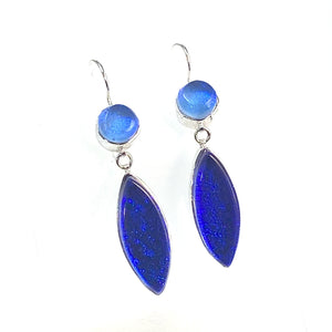 double drop earrings, azure, cobalt blue, fused glass, glass jewelry, glass and silver jewelry, handmade, handcrafted, American Craft, hand fabricated jewelry, hand fabricated jewellery,  Athen, Georgia, colorful jewelry, sparkle, bullseye glass, dichroic glass, art jewelry