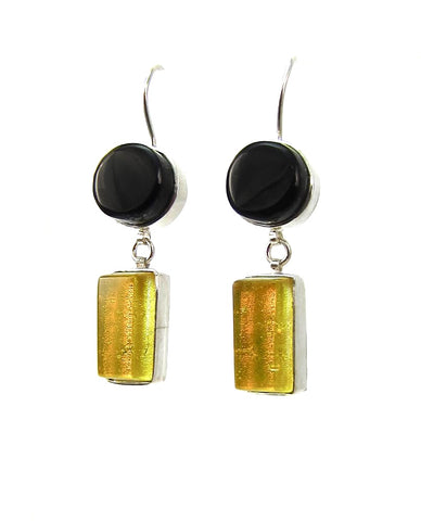 double drop earrings, black, yellow, fused glass, glass jewelry, glass and silver jewelry, handmade, handcrafted, American Craft, hand fabricated jewelry, hand fabricated jewellery,  Athen, Georgia, colorful jewelry, sparkle, bullseye glass, dichroic glass, art jewelry