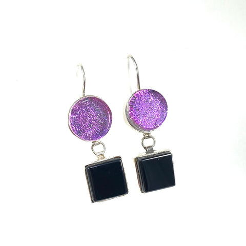 double drop earrings, pink, black, fused glass, glass jewelry, glass and silver jewelry, handmade, handcrafted, American Craft, hand fabricated jewelry, hand fabricated jewellery,  Athen, Georgia, colorful jewelry, sparkle, bullseye glass, dichroic glass, art jewelry