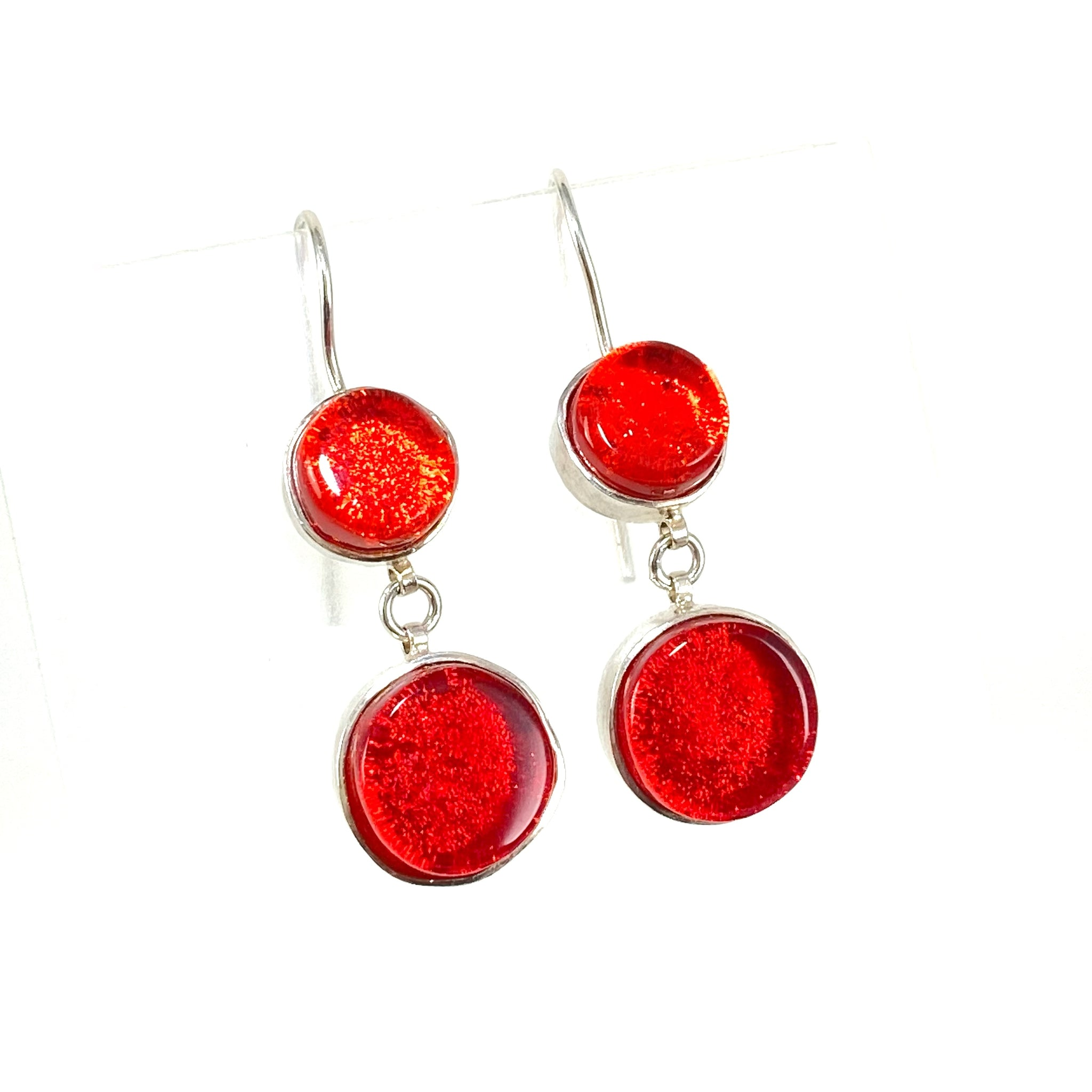 double drop earrings, sangria orange, cherry red, fused glass, glass jewelry, glass and silver jewelry, handmade, handcrafted, American Craft, hand fabricated jewelry, hand fabricated jewellery,  Athen, Georgia, colorful jewelry, sparkle, bullseye glass, dichroic glass, art jewelry