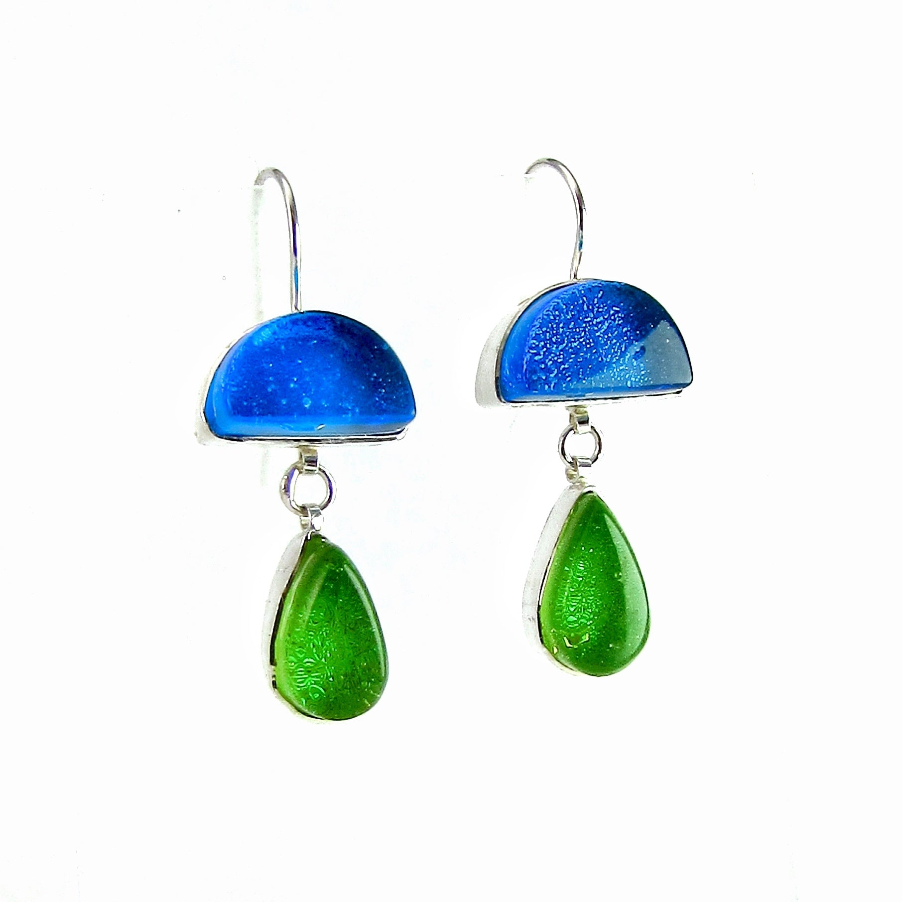 double drop earrings, turquoise, blue, citron, green, fused glass, glass jewelry, glass and silver jewelry, handmade, handcrafted, American Craft, hand fabricated jewelry, hand fabricated jewellery,  Athen, Georgia, colorful jewelry, sparkle, bullseye glass, dichroic glass, art jewelry