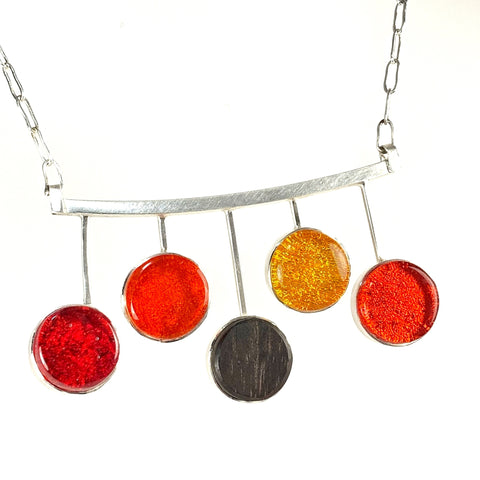 mid century modern, circle necklace, five elements, fused glass, glass jewelry, glass and silver jewelry, handmade, handcrafted, American Craft, hand fabricated jewelry, hand fabricated jewellery,  Athen, Georgia, colorful jewelry, sparkle, bullseye glass, dichroic glass, art jewelry