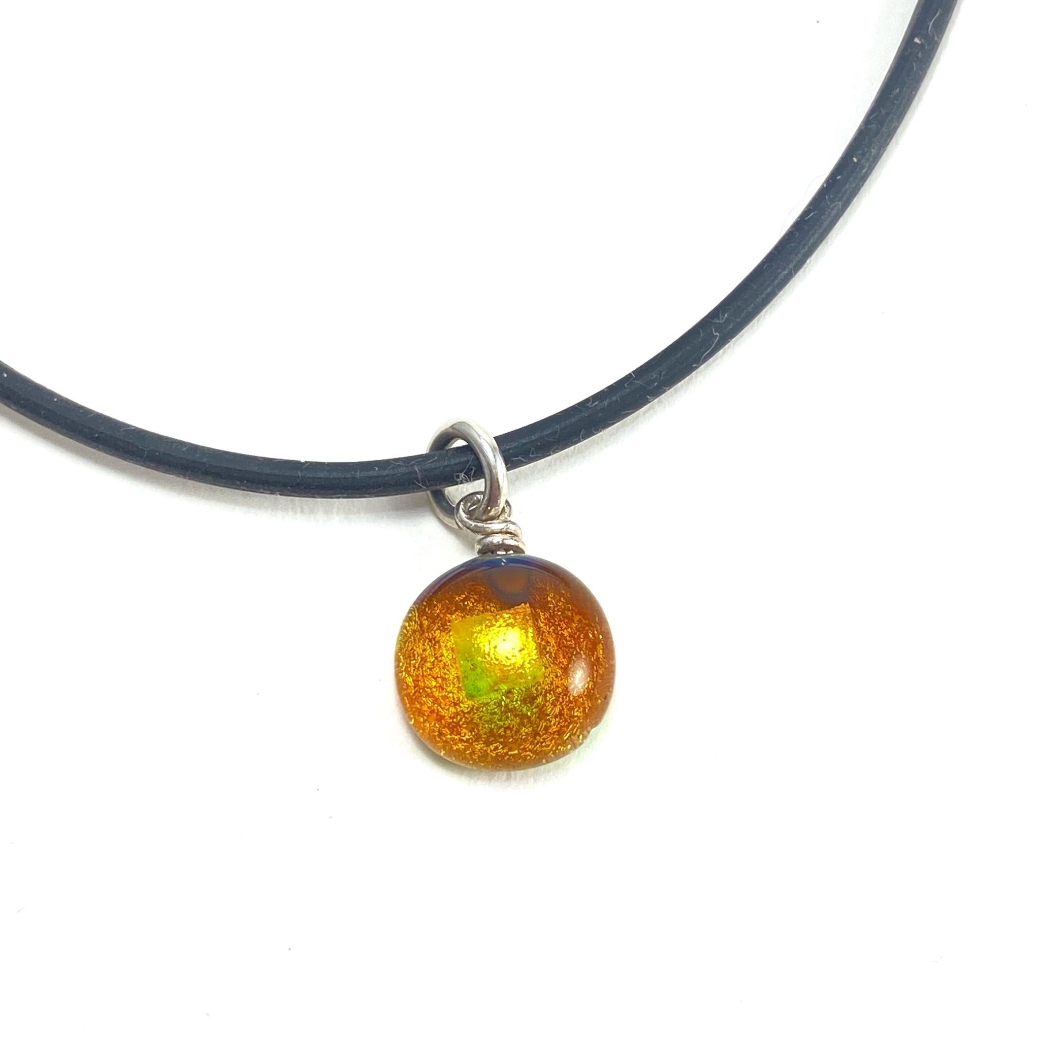 amber gold glass ball necklace, fused glass, glass jewelry, glass and silver jewelry, handmade, handcrafted, American Craft, hand fabricated jewelry, hand fabricated jewellery,  Athen, Georgia, colorful jewelry, sparkle, bullseye glass, dichroic glass, art jewelry