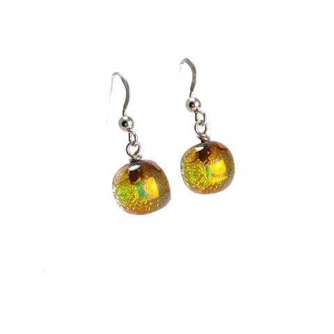 gold, space balls, sparkle, glass drops, earrings, fused glass, glass jewelry, glass and silver jewelry, handmade, handcrafted, American Craft, hand fabricated jewelry, hand fabricated jewellery, Athen, Georgia, colorful jewelry, sparkle, bullseye glass, dichroic glass, art jewelry