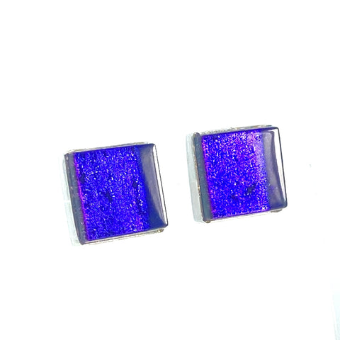 purple, square, post, earrings, fused glass, glass jewelry, glass and silver jewelry, handmade, handcrafted, American Craft, hand fabricated jewelry, hand fabricated jewellery,  Athen, Georgia, colorful jewelry, sparkle, bullseye glass, dichroic glass